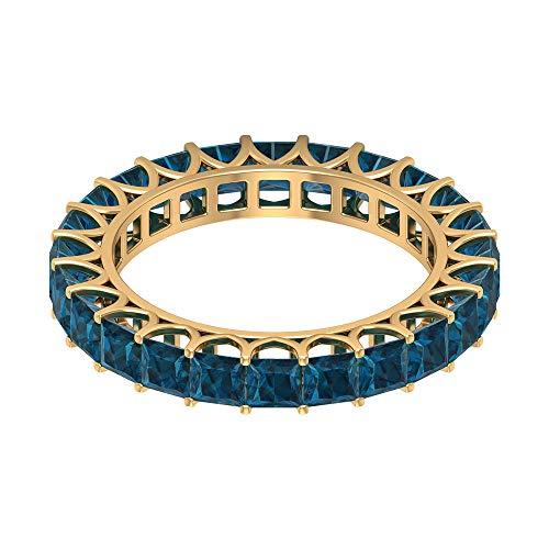 Banda clásica de eternidad, 2,6 quilates, anillo de Londres con topacio azul, 3 mm de corte princesa, anillo de boda apilable, joyas de piedra natal de diciembre, 14K Oro amarillo, Size:EU 47