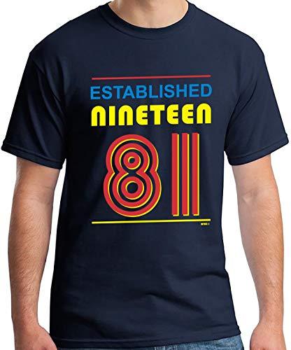 * NEW * Established Nineteen 81 (1981) T-Shirt, Mens Navy Blue