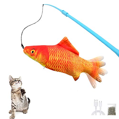 Pexmmy Floppy Fish Cat Toy with Fishing Pole, Interactive Fishing Rod, Kitten Toys for Indoor Cats, Flopping Fish Kitty…