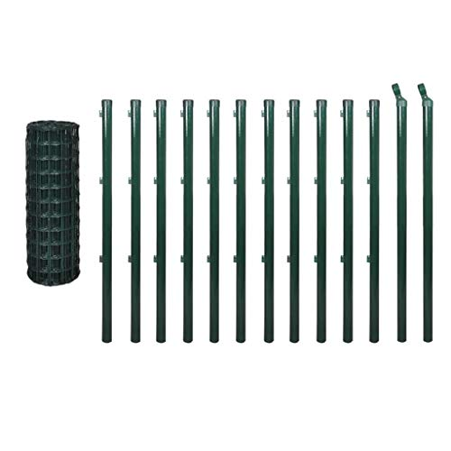 vidaXL Ensemble de clôture Euro Acier 25 x 1,5 m Vert