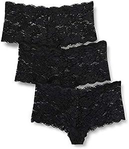 Marca Amazon - IRIS & LILLY Braga Boy Short de Encaje Mujer, Pack de 3, Negro (Black), M, Label: M