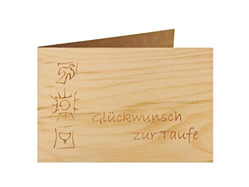 Holzgrußkarte - Taufe, Baby, Geburt - 100% handmade in Österreich - Postkarte Glückwunschkarte Geschenkkarte Grußkarte Klappkarte Karte Einladung, Motiv:GLÜCKWUNSCH ZUR TAUFE
