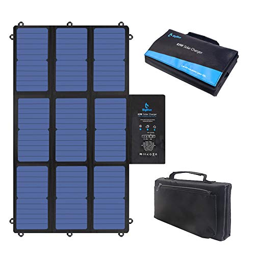 [2020 Version] BigBlue 63W Solar Charger with SunPower Solar Panel(Dual 5V USB+19V DC Output+USB-C Port), Foldable & Compact, for Power Station, Tablet, iPad, Cellphones,12V Boat/RV Battery etc.