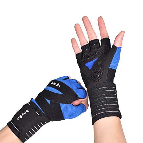 Guantes de entrenamiento para hombres y mujeres con agarre, guantes de levantamiento de pesas con soporte de muñeca, guantes de ejercicio de gimnasio para levantamiento de pesas,Azul,S/M