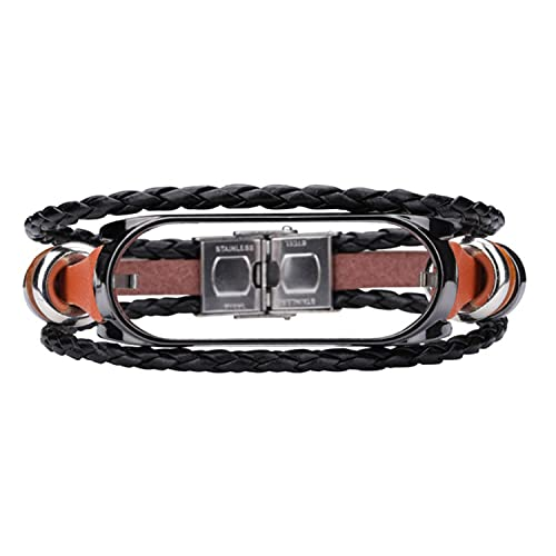 Ethnic Style Leather Watchbands For Xiaomi Mi Band 5 / 5 NFC Vintage Beading Bracelet Strap Weave Replacement Wrist Band