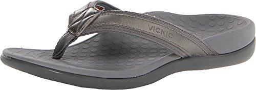 Vionic Tide II - Women's Leather Orthotic Sandals - Pewter Metallic - 9 Medium