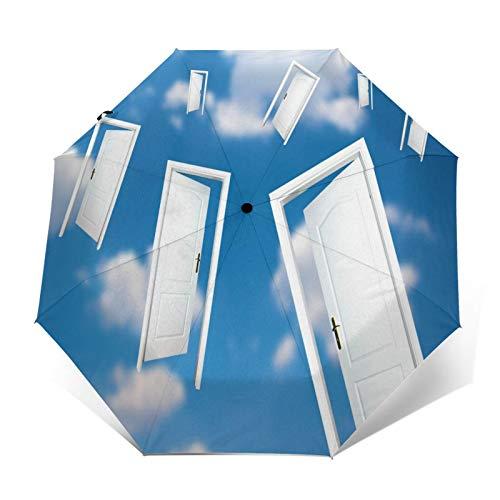 SUHETI Paraguas automático de Apertura/Cierre,Puertas Sky Flight,Paraguas pequeño Plegable a Prueba de Viento