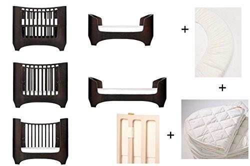 Noyer Leander pour bébé et enfant Lit + 1 kit (= 2 pièces) original de draps housse dans la taille bébé + 1 surmatelas dans la taille bébé + Baby Tour de lit en Vanilla Crème