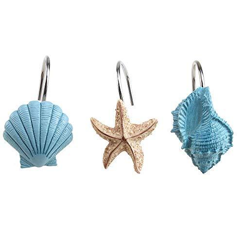 AGPtek 12 PCS Fashion Decorative Home Bathroom Seashell Shower Curtain Hooks (Seashell: Blue, Starfish: Tan, Conch: Blue)