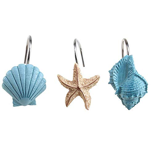 AGPtek 12 PCS Fashion Decorative Home Bathroom Seashell Shower Curtain Hooks (Seashell: Blue, Starfish: Tan, Conch: Blue)