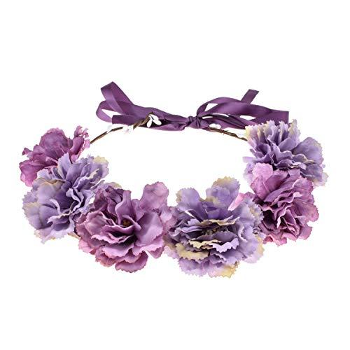 Floral Fall Romantic Flower Crown Hair Wreath Bridal Headpiece Blush Purple Flower Headband FL-06 (Purple)
