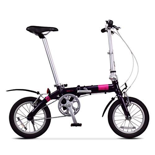 Paseo Bicicleta Niño Y Niña Ciclismo Bicicleta Plegable Asiento Ajustable (Color : Black-B, Size : 14inch)