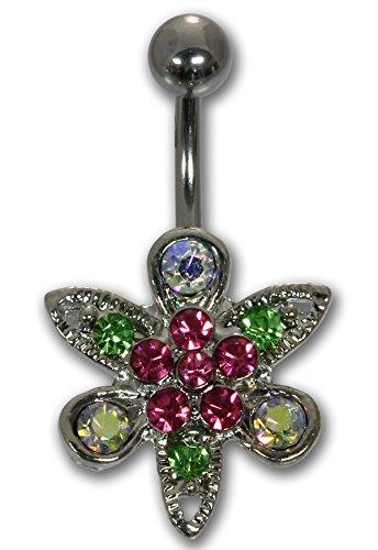 FANCY piercing per ombelico in acciaio chirurgico con diversi cristalli FLOWER