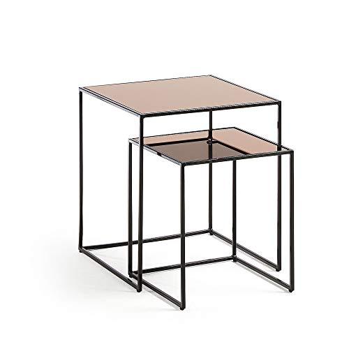 Kave Home - Set de 2 mesas auxiliares Nido Sute cuadradas 45 x 45/35 x 35 cm de Cristal Templado Tintado en Cobre y Patas de Acero en Negro