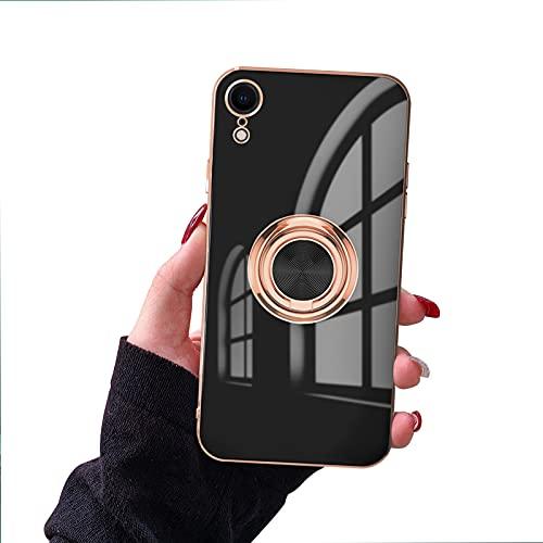 Newseego Kompatibel mit iPhone XR Hülle, Shiny Soft Silicone TPU Slim Hülle mit 360 Grad Ring Stand Stoßstange Stoßfeste Schutzhülle Fingerhalter Magnetische Auto Halter Hülle für iPhone XR - Schwarz