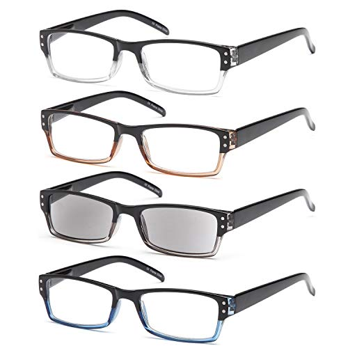 Gamma Ray Reading Glasses - 4 Pairs for Men and Women Reader Sunglasses - 1.50