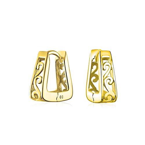 Pirámide cuadrada en forma de pergamino giratorio filigrana Kpop Huggie Pendientes aro para hombres mujeres 14K oro chapado 925 plata de ley