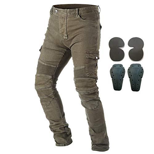 Pantaloni da moto, per uomo, Jeans in denim per motociclismo con armatura e 4 ginocchiere, Uomo, Army Green, 35W/32L
