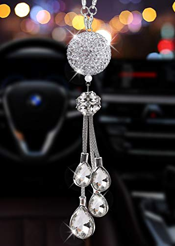 Alotex Bling White Ball and Drops Car Accessories for Women and Man Pretty Car Decoration Pendant Crystal Rhinestone Shiny Car Rear View Mirror Charm Sparkle Sun Catcher Ornament(Silver Ball-White)