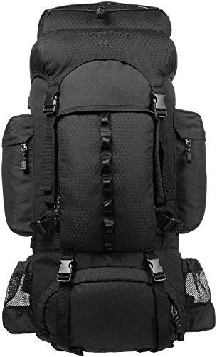 Amazon Basics - Mochila de senderismo con estructura interna y capa para lluvia, 55 L, Negro