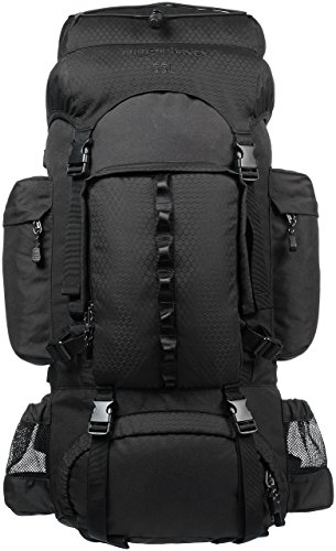 AmazonBasics Internal Frame Hiking Camping Rucksack Backpack with Rainfly - 15 x 6.5 x 30 Inches, 55 Liters, Black