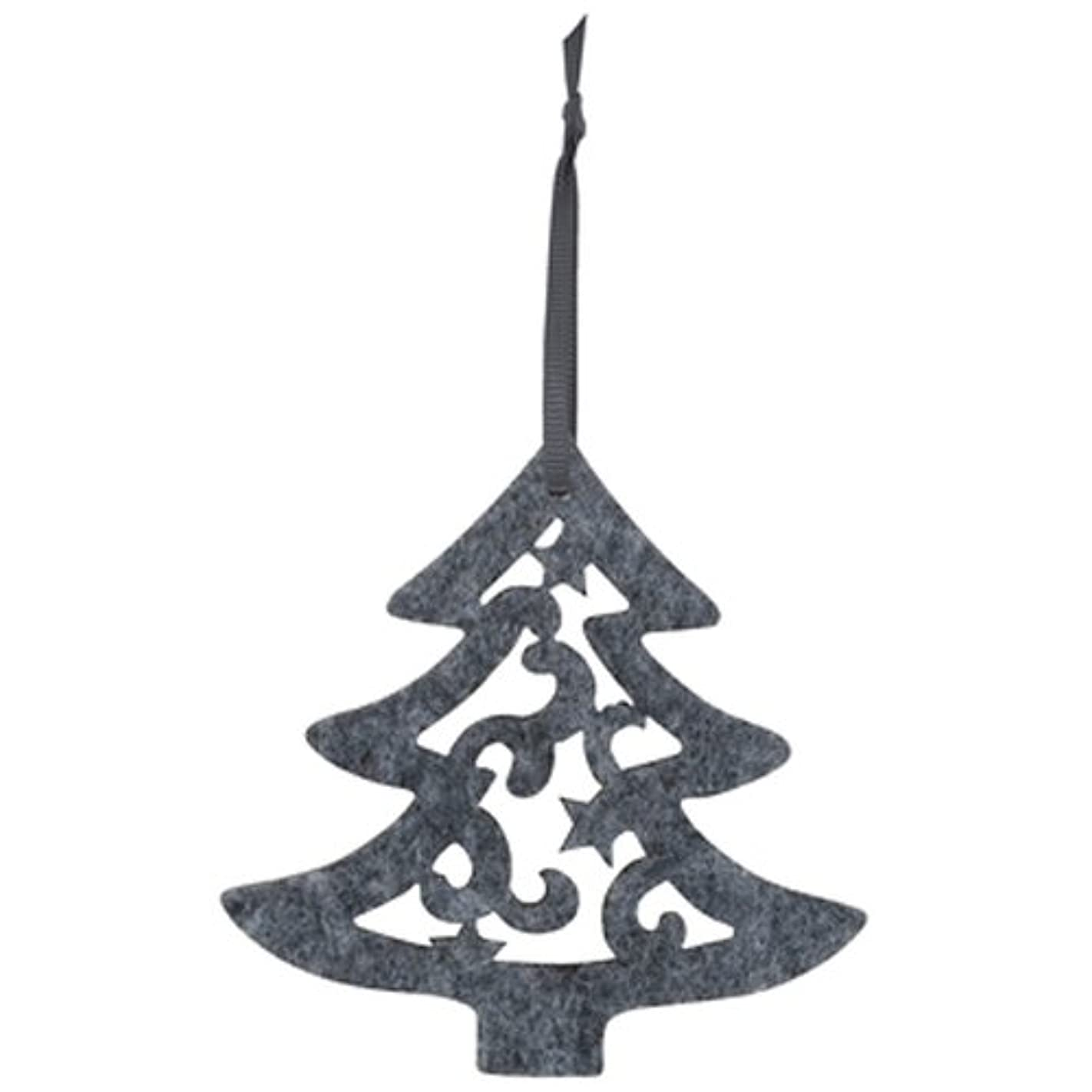The Gift Wrap Company Felt Die-Cut Holiday Tag, Tree, Gray c30523571756
