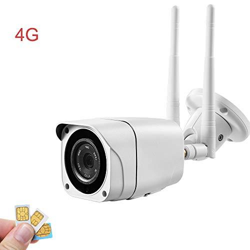 Cámara con Tarjeta SIM 4G, cámara Web Exterior 1080P HD, sin Necesidad de WiFi, Resistente a la Intemperie, visión Nocturna, Ranura para Tarjeta Micro SD, Ranura para Tarjeta SIM