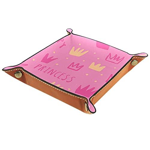 Bandeja de cuero para hombres y mujeres, organizador de escritorio personalizado para joyas, cosméticos, gafas, cartera, oficina, uso en el hogar, color rosa