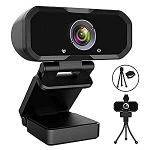 Webcam 1080p HD Computer Camera – Microphone Laptop USB PC Webcam with Privacy Shutter and Tripod Stand, 110 Degree Live…