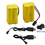 Blomiky 2 Pack F3 4.8V 700mAh AA Nicd Battery and USB Charger Cable for HY800 F1 F3 RC Boat and RC Bus RC School Bus F3 Battery and USB 2