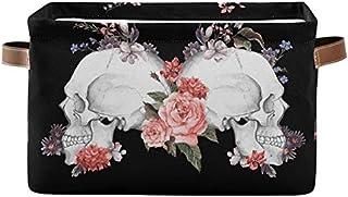 Doshine Panier de rangement pliable avec poignées Motif floral Rose Sugar Crâne Halloween Grand panier de rangement Cube à...