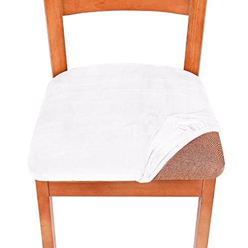 Cojín tapizado de Terciopelo elástico para Comedor , Fundas de Asiento para sillas, Fundas extraíbles con Protector Lavable para Muebles 6SPC 5