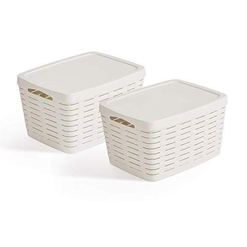 USE FAMILY Bamboo, Cestas almacenaje baño Tapa-Apilable-Plastico reciclable (40 x 31 x 23 (22L), Blanco Roto)