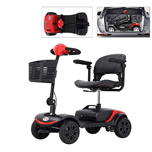 4 Wheel Mobility Scooter, Electric Powered Wheelchair Device, Compact Heavy Duty Mobile with Basket for Gravida, Foldable in Boot Trunk for Traveling...