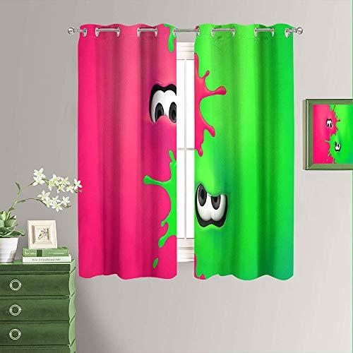 Cortinas decorativas con impresión Splatoon 2 videojuego con aislamiento térmico para decoración de ventana, cortinas opacas para ventana de 182 x 182 cm