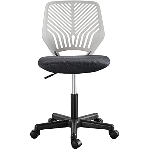 Yaheetech Dark Grey Modern Office Chair Adjustable Computer Desk Chair Durable Armless Study Chair Swivel Chair with Rolling Wheels for Home Office Work Study