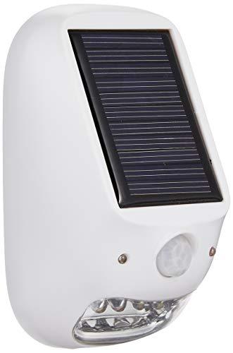 ヤザワ 屋外用ソーラー式LEDセンサーライト 防雨型 乾電池式 ソーラーパネル付 配線不要 明暗&人感センサー付 NL57WH