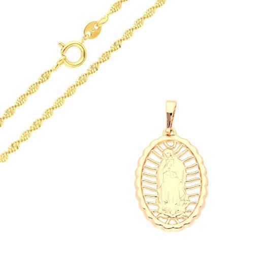 Cadena y colgante medalla Virgen María milagrosa oro amarillo 750 Lamin*