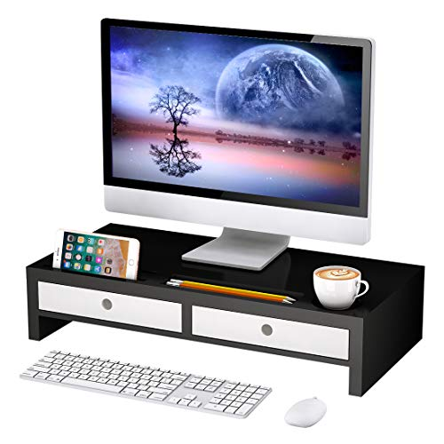 Monitor Stand Riser with Drawer - Desk Shelf Organizer Keyboard Storage Black 22' x 10.6' x 4.7'