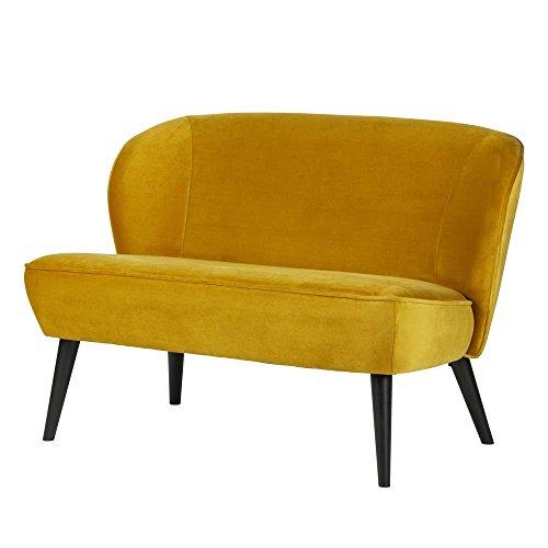Pharao24 2 Sitzer Sofa in Gelb Samt Schwarz massiv