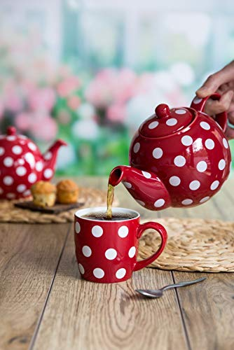 London Pottery Ceramic Retro Style Farmhouse Red and White Polka Dot Teapot