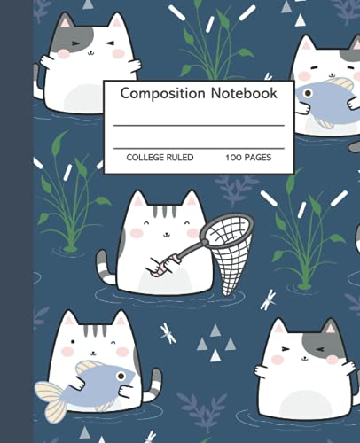 Kawaii A02 Composition College Ruled Notebook : 100 pages 7.5x9.25 Perfect for Home School Office Supplies