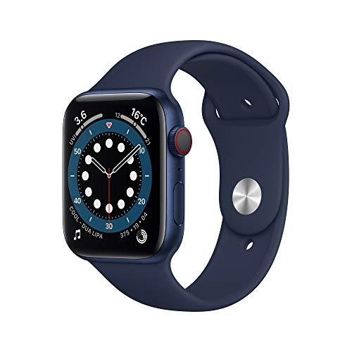 最新 AppleWatch Series 6(GPS + Cellularモデル)- 44mmブルーアルミニウムケースとディープネイビースポーツバンド