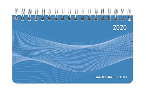 Querkalender Mini PP-Einband blau 2020 - Tischkalender - Bürokalender (9 x 16) - 1 Woche 2 Seiten - Ringbindung - Terminplaner - Notizbuch