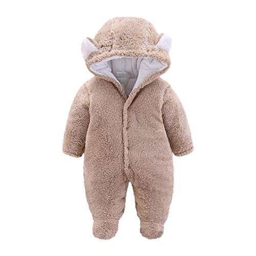 IMJONO Hiver Bébé Combinaison de Neige Chaude en Coton Polaire à Capuche pour bébé Fille garçon Épaissir Plus Velours À Capuche Pied Barboteuse 0-12 Mois(Kaki,6-9 Mois