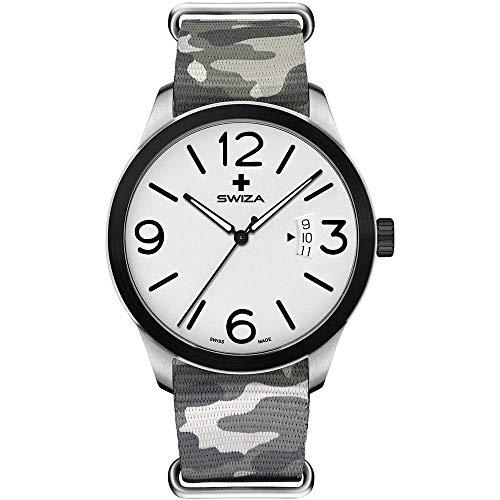 SWIZA Armbanduhr Magnus, ETA F07.111 Uhrwerk, Stahl 316L, 316L-Lünette, PVD-beschichtet, grau-camo Nylonarmband