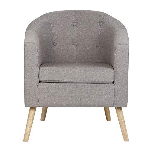 MUPAI Skandinavische Sessel für Esszimmer/Wohnzimmer/Büro/Empfang/Café, Leinensofa 79x64x50cm (Grau,79x64x50cm)