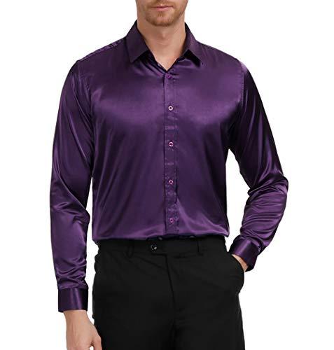 Men's Solid Color Shiny Satin Silk Like Dance Prom Dress Shirt(S,Purple)