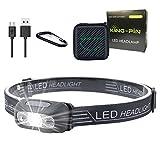 King-Pin Lampada da Testa LED Lampada Frontale - USB Ricaricabile Impermeabile Leggero Mini Lampada da Testa, 7 modalità, Facile da Usare Perfetta per Correre, Camminare, Leggere, Campeggio