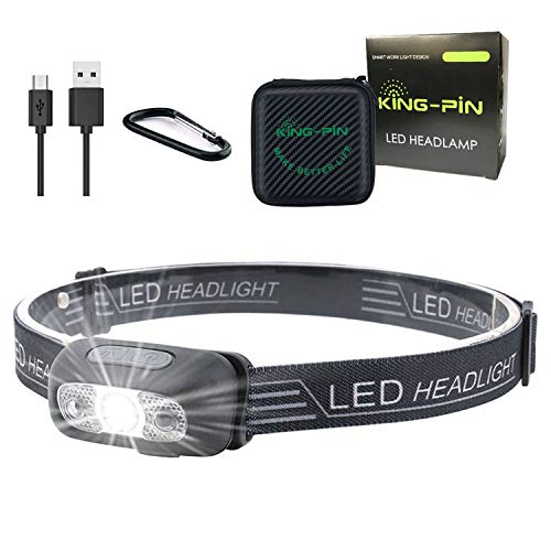 King-Pin LED Stirnlampe Kopflampe USB Wiederaufladbare Wasserdicht Leichtgewichts Mini Stirnlampe 7 Leuchtmodi Perfekt fürs Laufen Joggen Campen Angeln